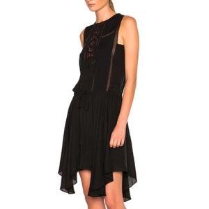 A.L.C. Meloni Black Silk Handkerchief Lace Dress 2